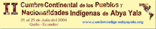 banner -II Cumbre Continental de Pueblos Indígenas de Abya Yala